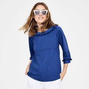 Boden blue pom pom shirt EUC 12